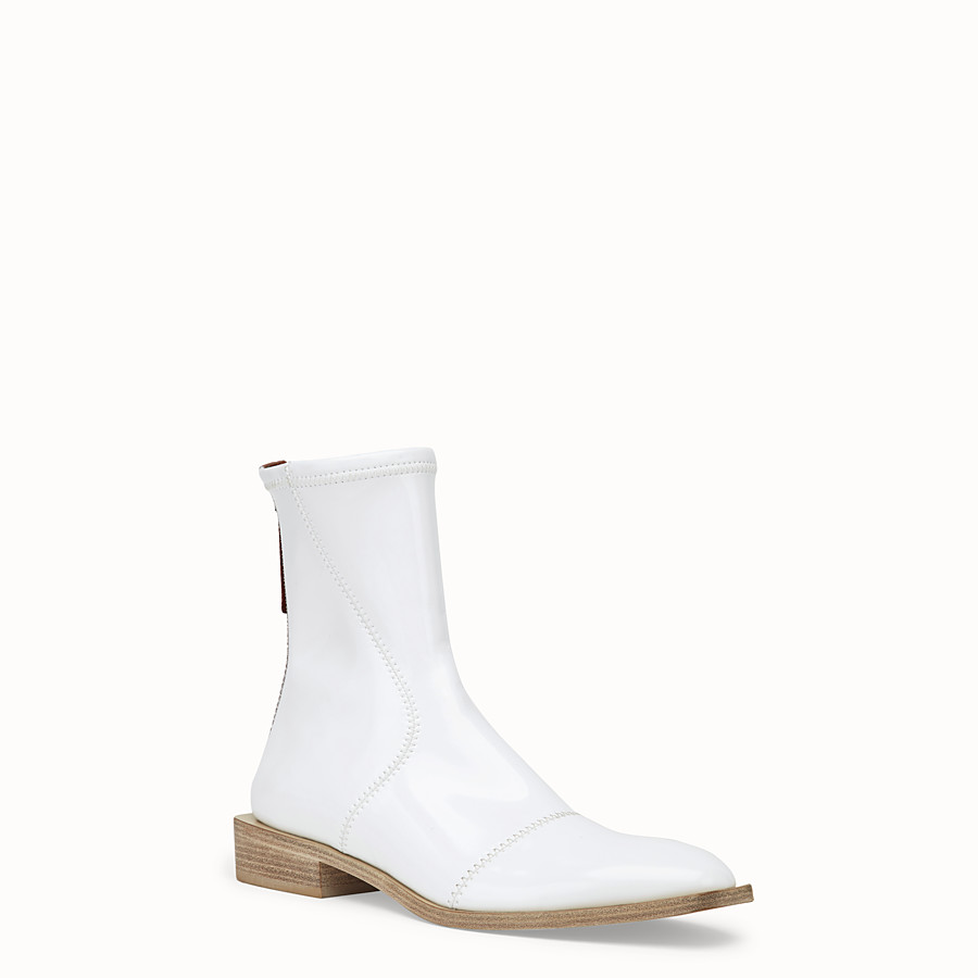 FENDI ANKLE BOOTS - White glossy neoprene low ankle boots - view 2 detail
