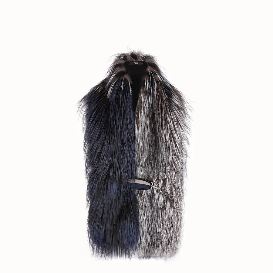FENDI COLLAR - Grey fox fur collar - view 1 detail