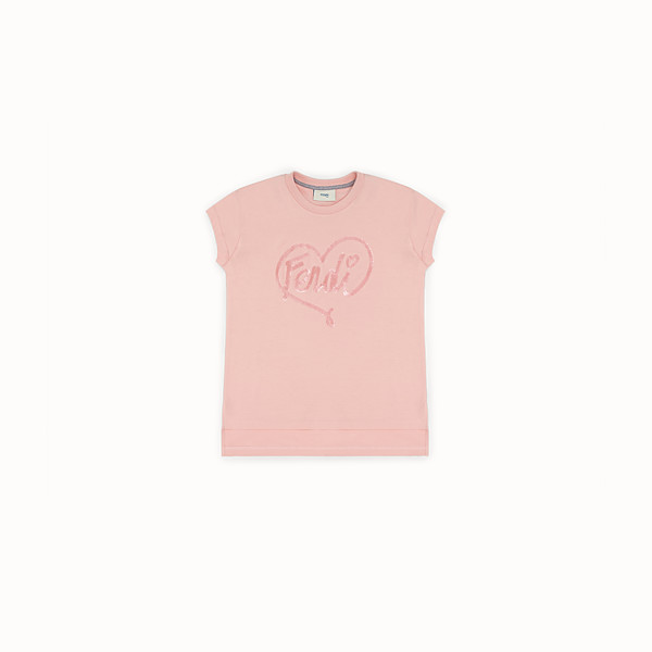 FENDI T-SHIRT - Pink cotton T-shirt - view 1 small thumbnail