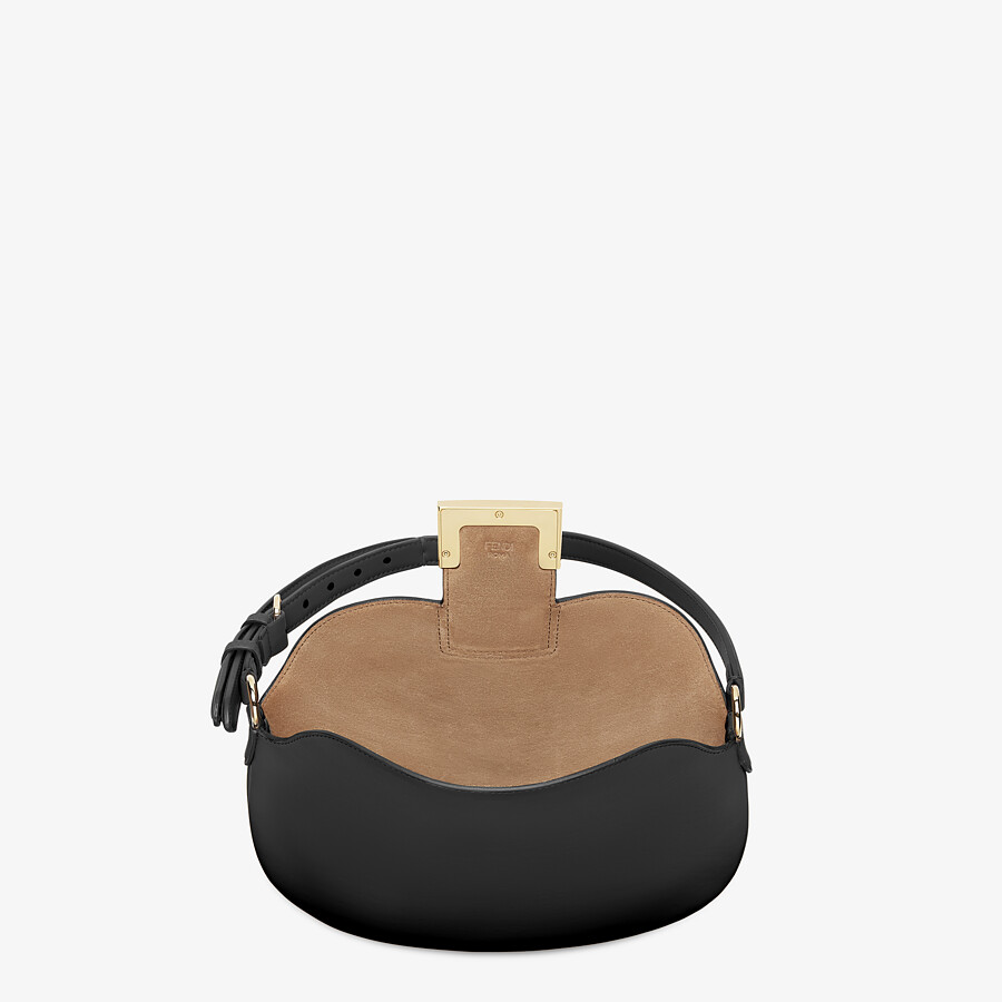 FENDI SMALL CROISSANT - Black leather bag - view 4 detail