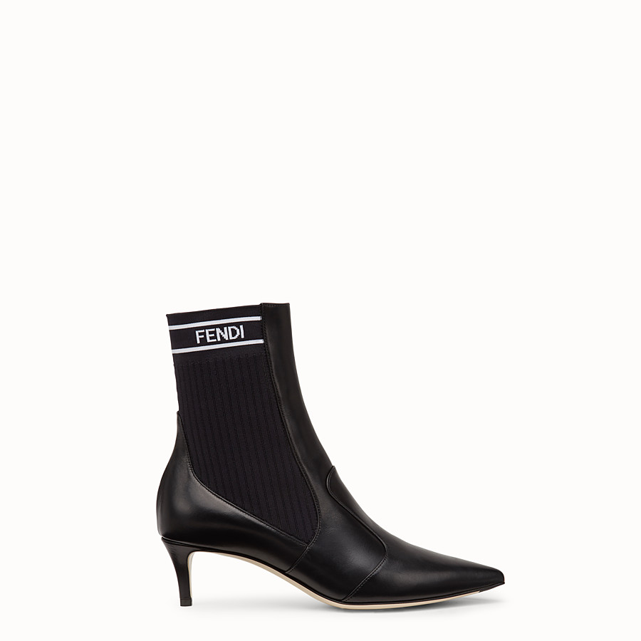 FENDI BOOTS - Black leather ankle boots - view 1 detail