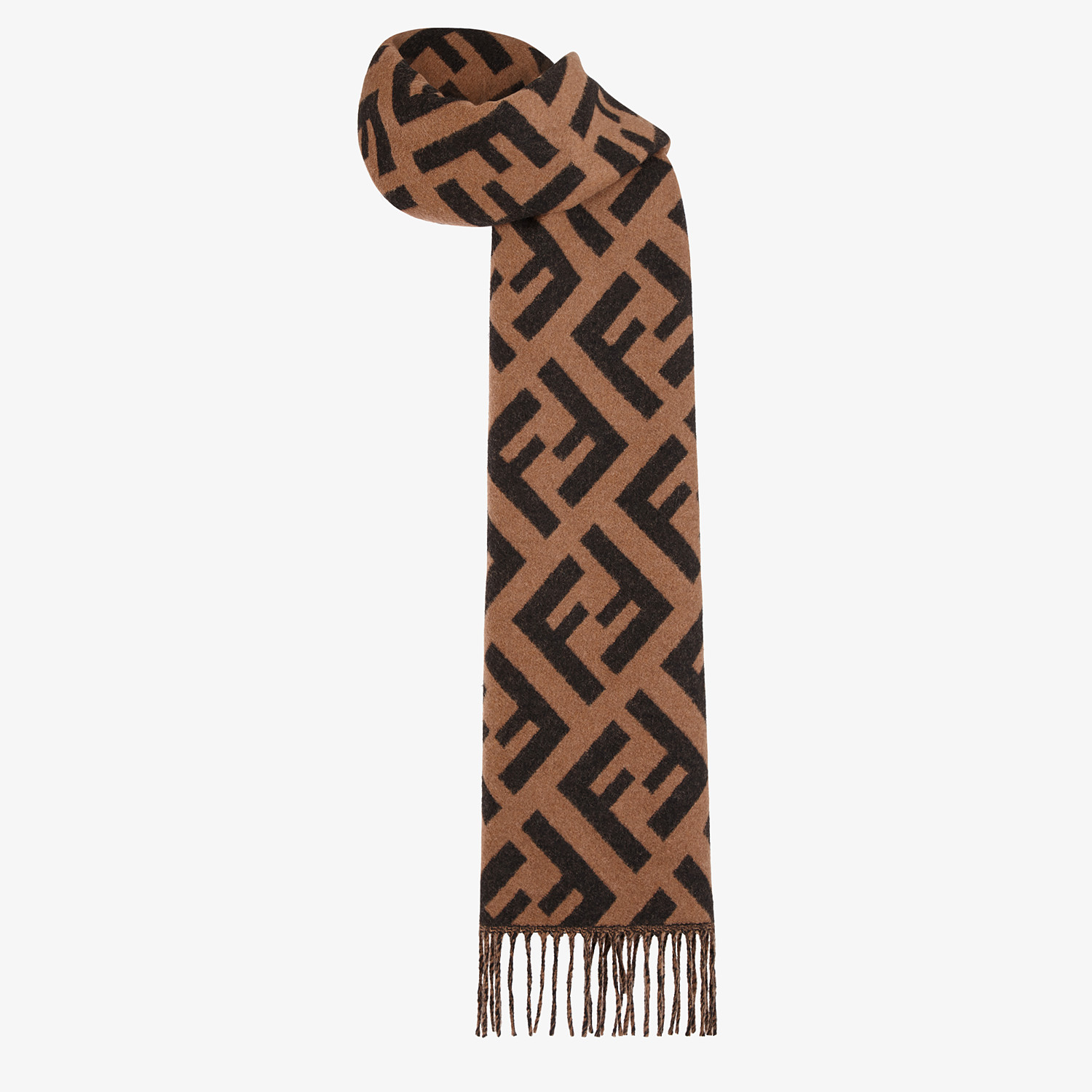FENDI FF SCARF - Brown cashmere scarf - view 2 detail
