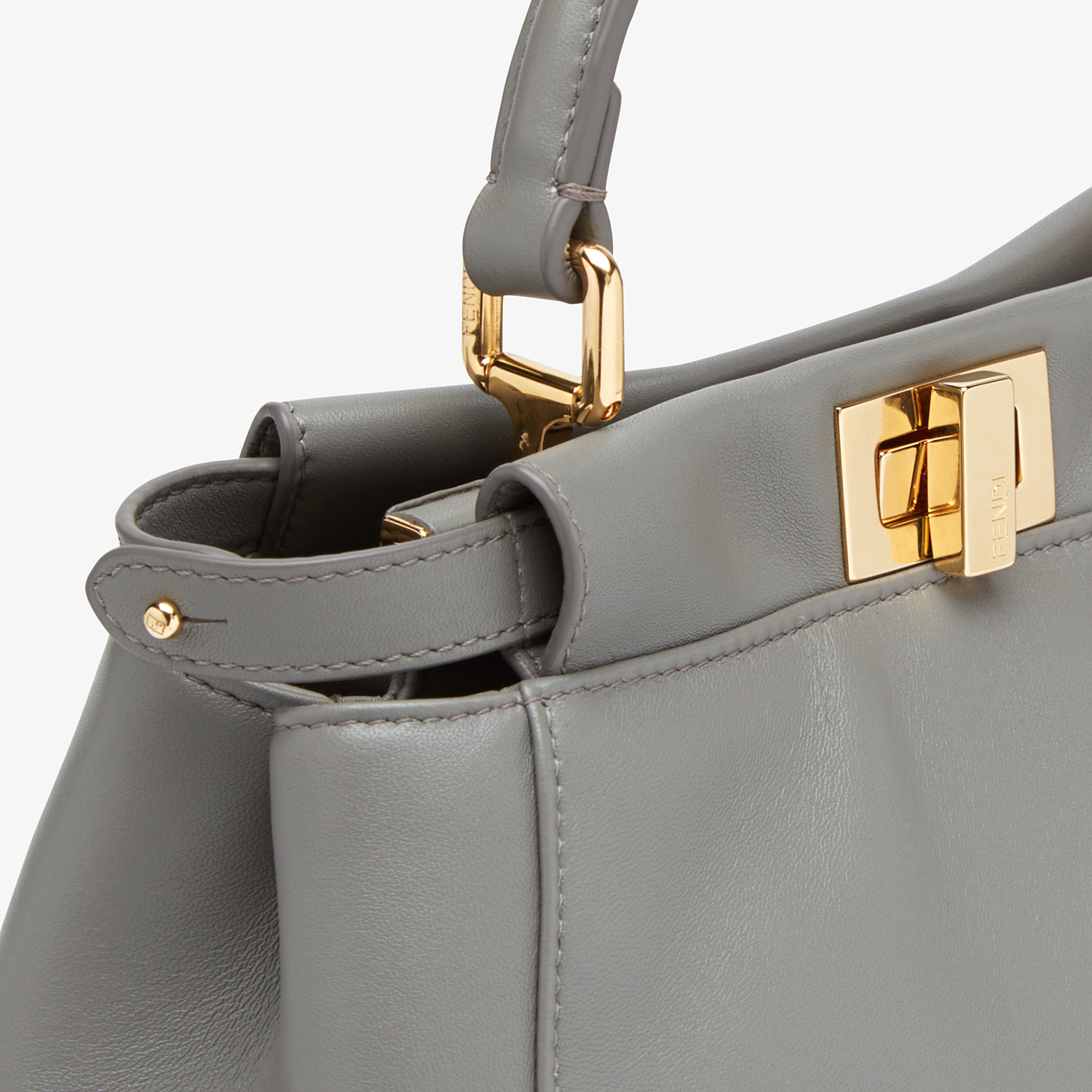 FENDI PEEKABOO ICONIC MINI - Grey nappa leather bag - view 6 detail
