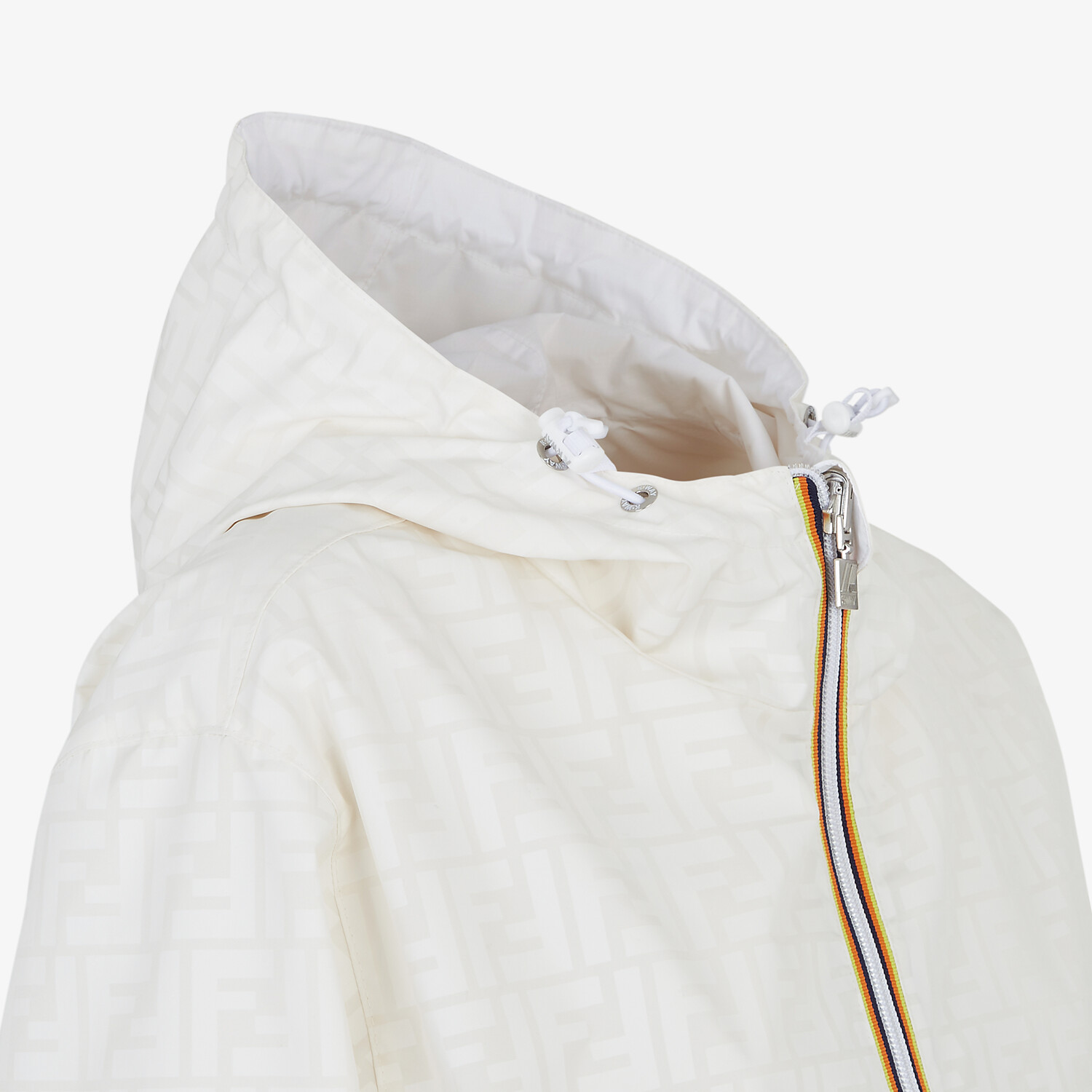 FENDI WINDBREAKER - White nylon FENDI x K-Way® jacket - view 3 detail