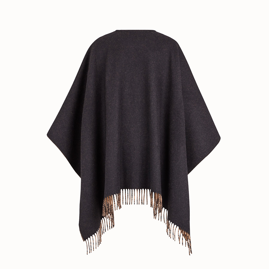 FENDI PONCHO - Poncho in lana e cachemire nero - vista 2 dettaglio