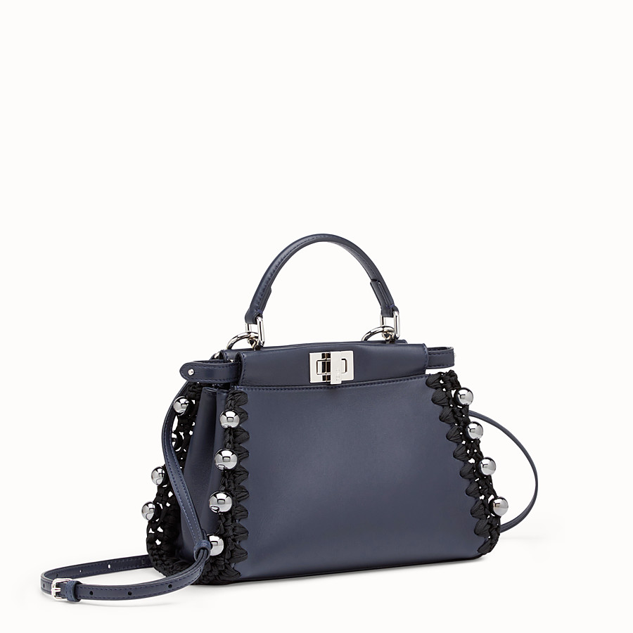 FENDI PEEKABOO MINI - Blue nappa bag - view 2 detail