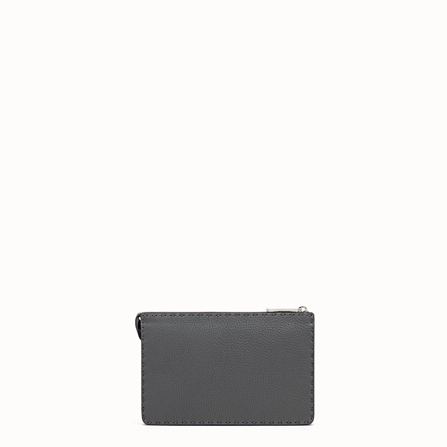 FENDI CLUTCH - Grey leather pouch - view 3 detail
