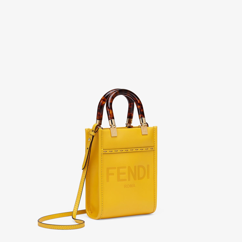 FENDI MINI SUNSHINE SHOPPER - Yellow leather mini-bag - view 2 detail