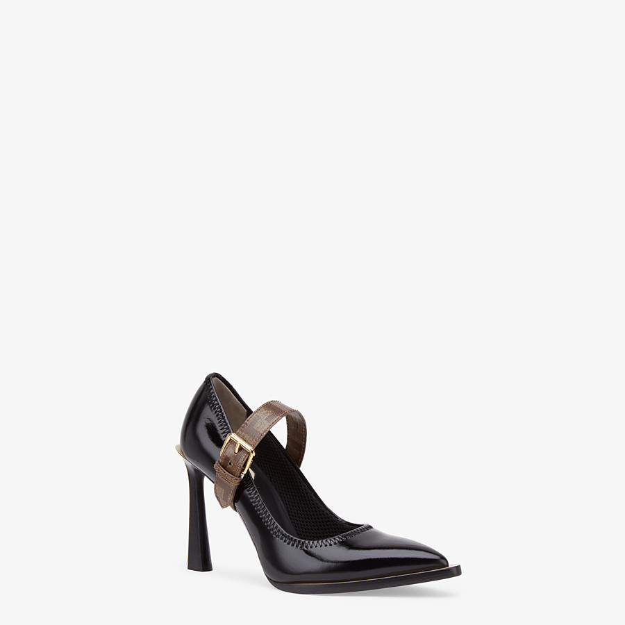 FENDI PUMPS - Mary Jane in glossy black neoprene - view 2 detail