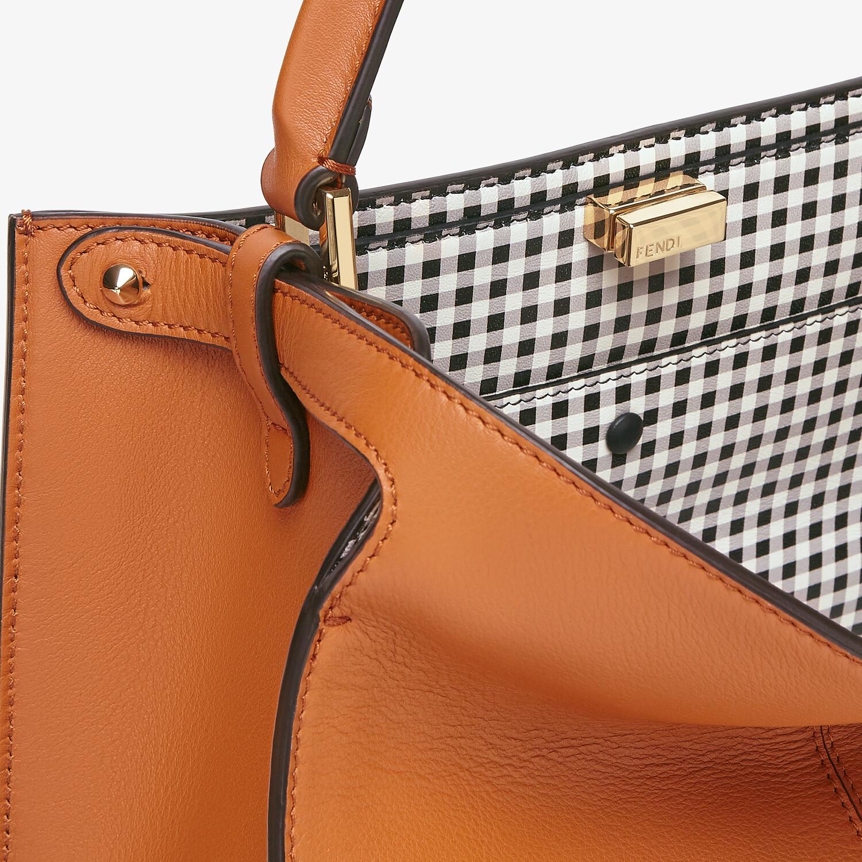 FENDI PEEKABOO X-LITE MEDIUM - Brown leather and check bag - view 6 detail