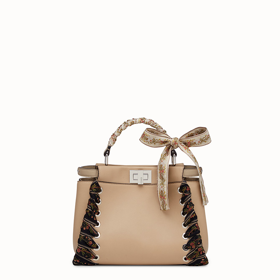FENDI PEEKABOO MINI - light brown leather handbag - view 1 detail