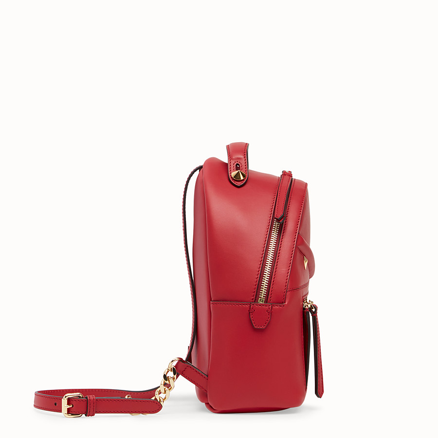 FENDI MINI BACKPACK - Small red leather backpack - view 2 detail