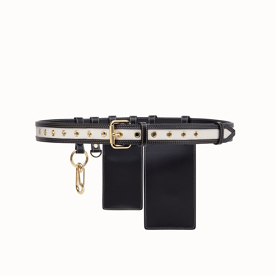 FENDI CINTURA - Cintura in pelle nera - vista 2 dettaglio