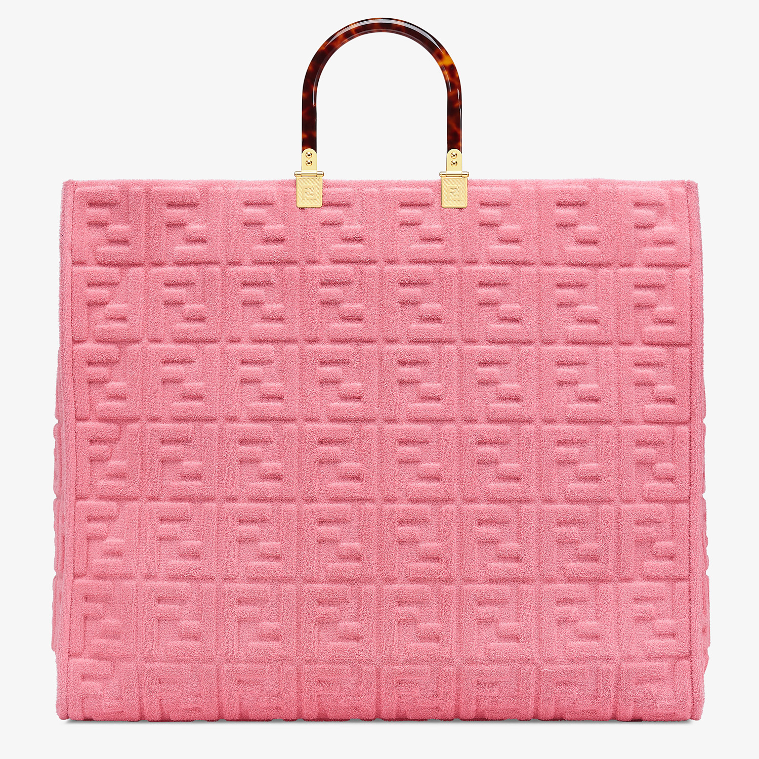 FENDI FENDI SUNSHINE XL - Pink terrycloth shopper - view 4 detail