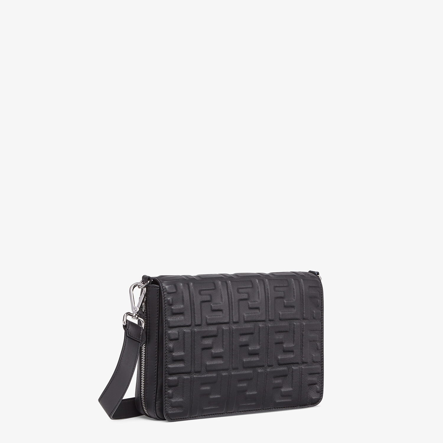 FENDI MESSENGER - Black nappa leather bag - view 2 detail