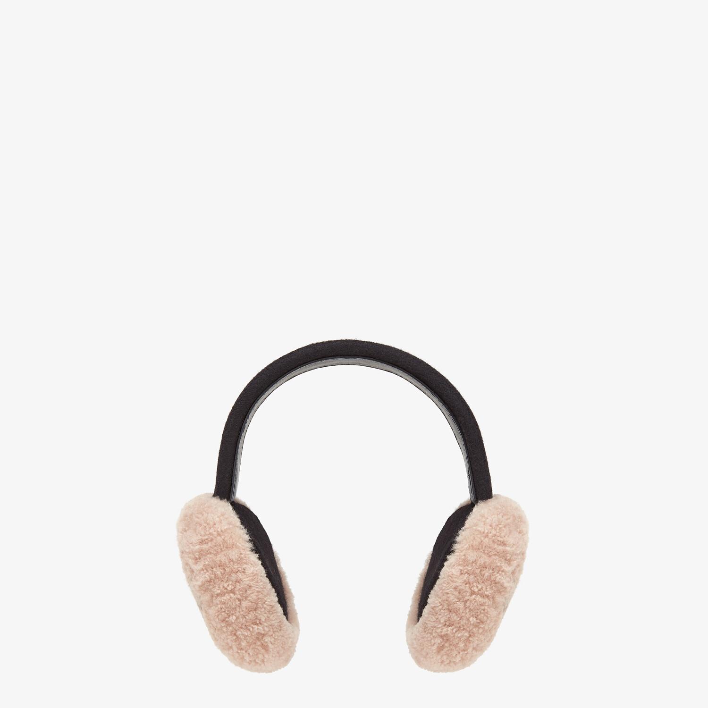 FENDI EARMUFFS - Pink shearling earmuffs - view 2 detail