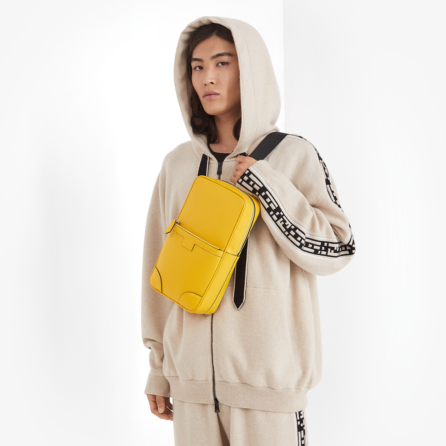 FENDI ONE-SHOULDER TRAVEL BACKPACK - Yellow leather backpack - view 5 detail