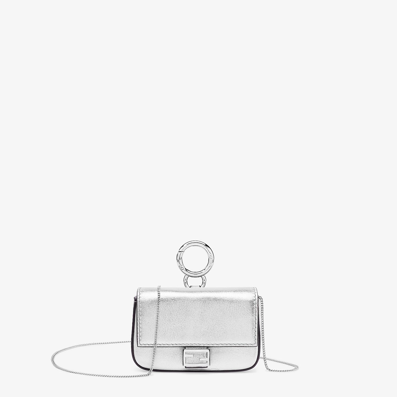 FENDI NANO BAGUETTE - Silver leather charm - view 1 detail