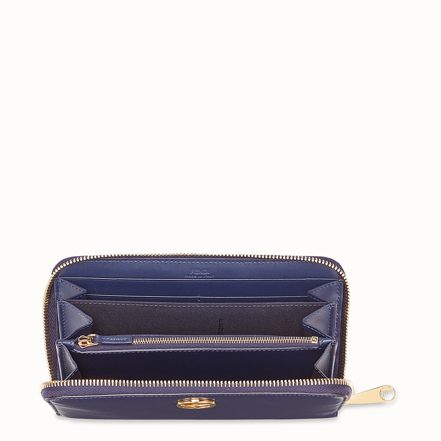 FENDI ZIP-AROUND - Blue leather wallet - view 4 detail