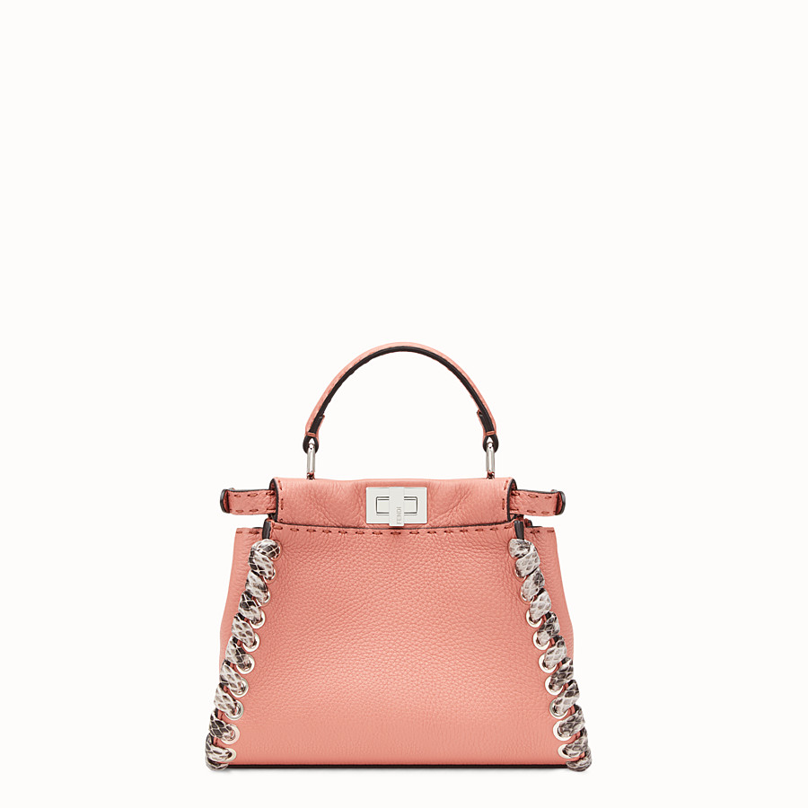 FENDI PEEKABOO MINI - Pink leather mini-bag with exotic details - view 3 detail