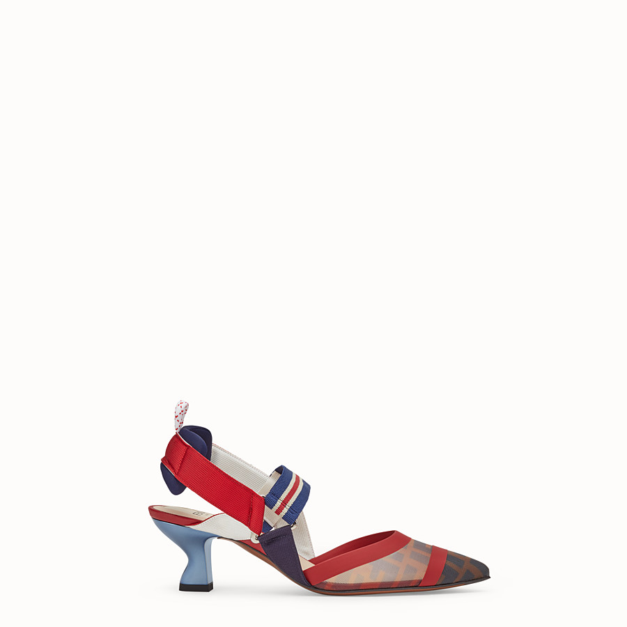 FENDI PUMPS - Multicolour tech mesh slingbacks - view 1 detail