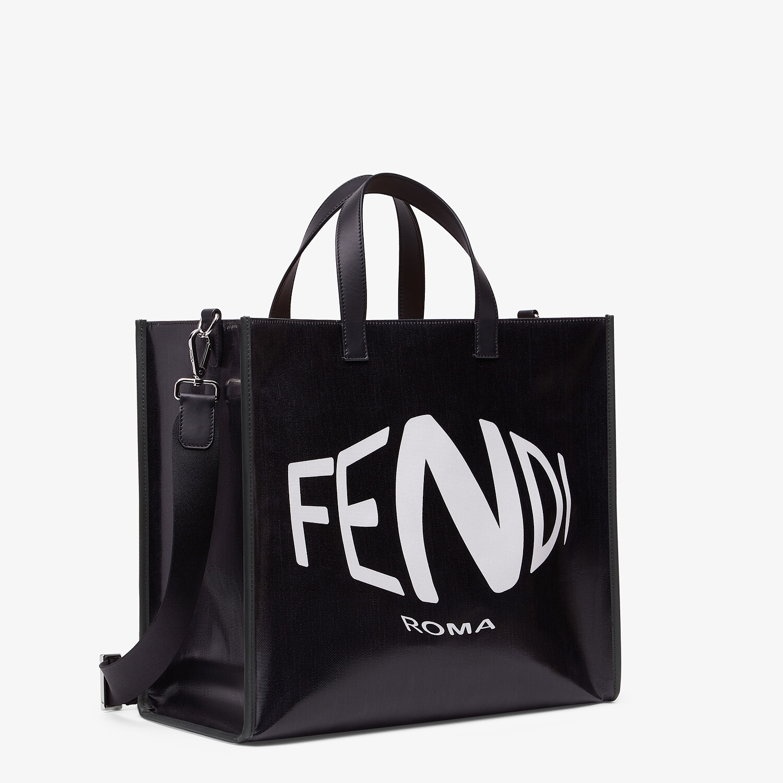 FENDI SHOPPER - Black glazed canvas bag - view 2 detail