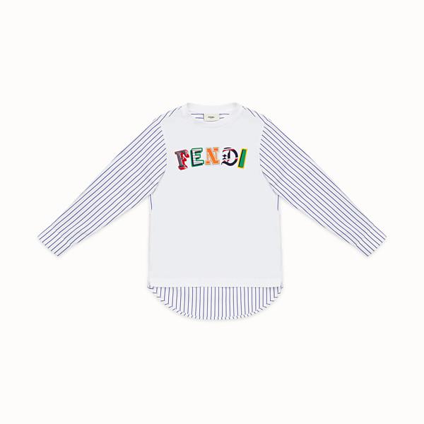 FENDI T-SHIRT - White and blue jersey T-shirt - view 1 small thumbnail