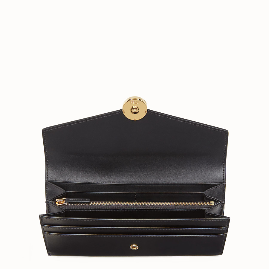 FENDI CONTINENTAL - Black leather wallet with exotic details - view 4 detail