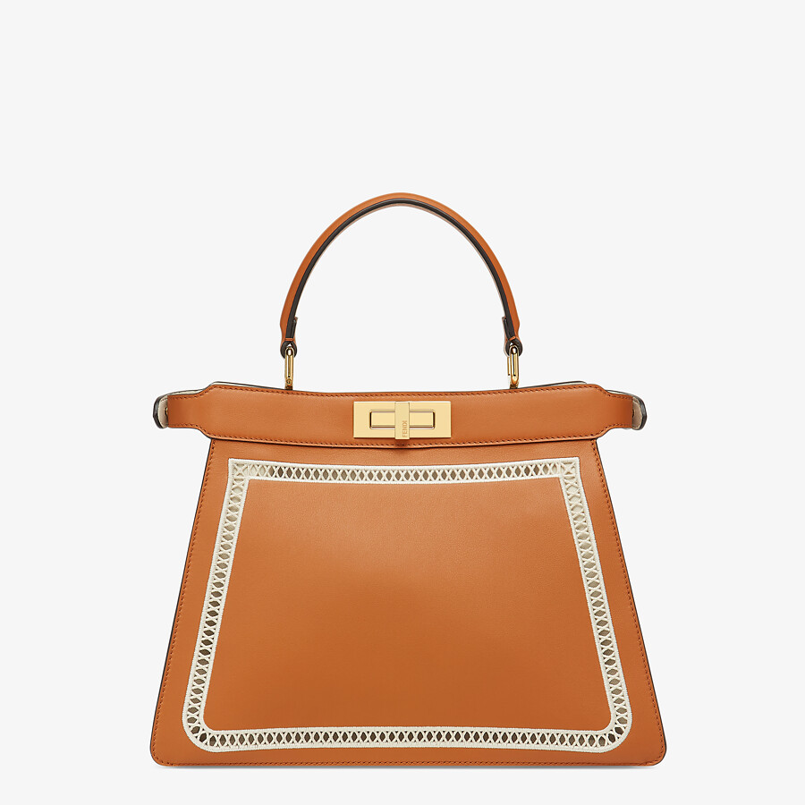FENDI PEEKABOO ISEEU MEDIUM - Embroidered brown leather bag - view 5 detail