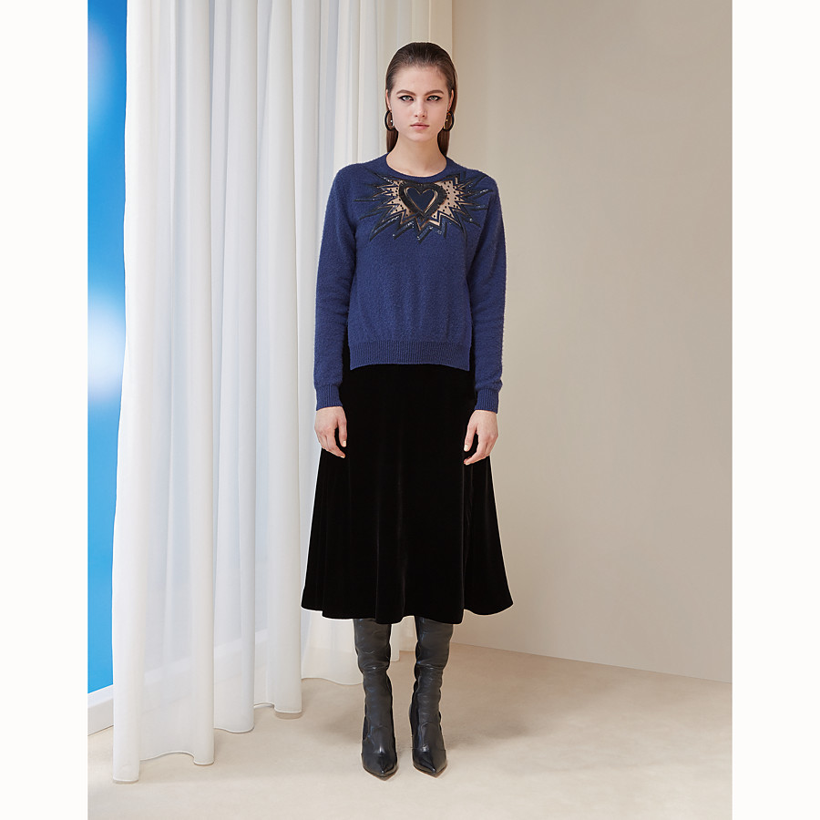 FENDI JUMPER - Blue cashmere and silk jumper - view 4 detail