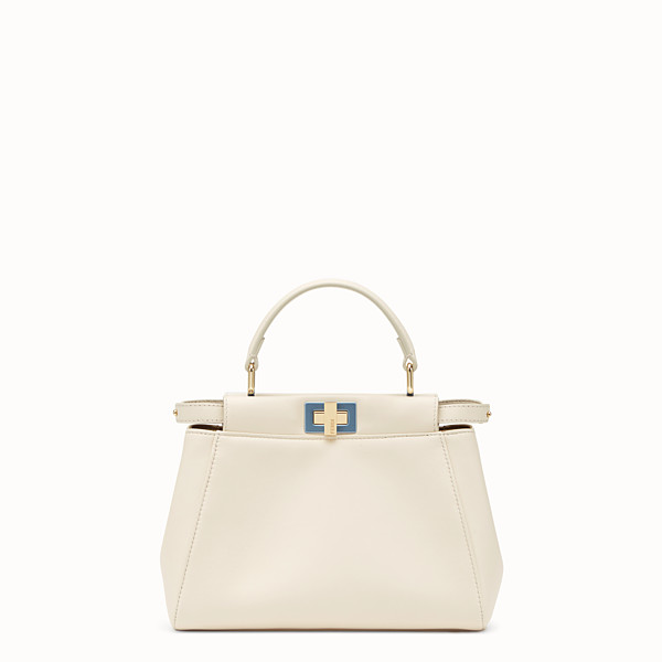 FENDI PEEKABOO MINI - Borsa in pelle bianca - vista 1 thumbnail piccola