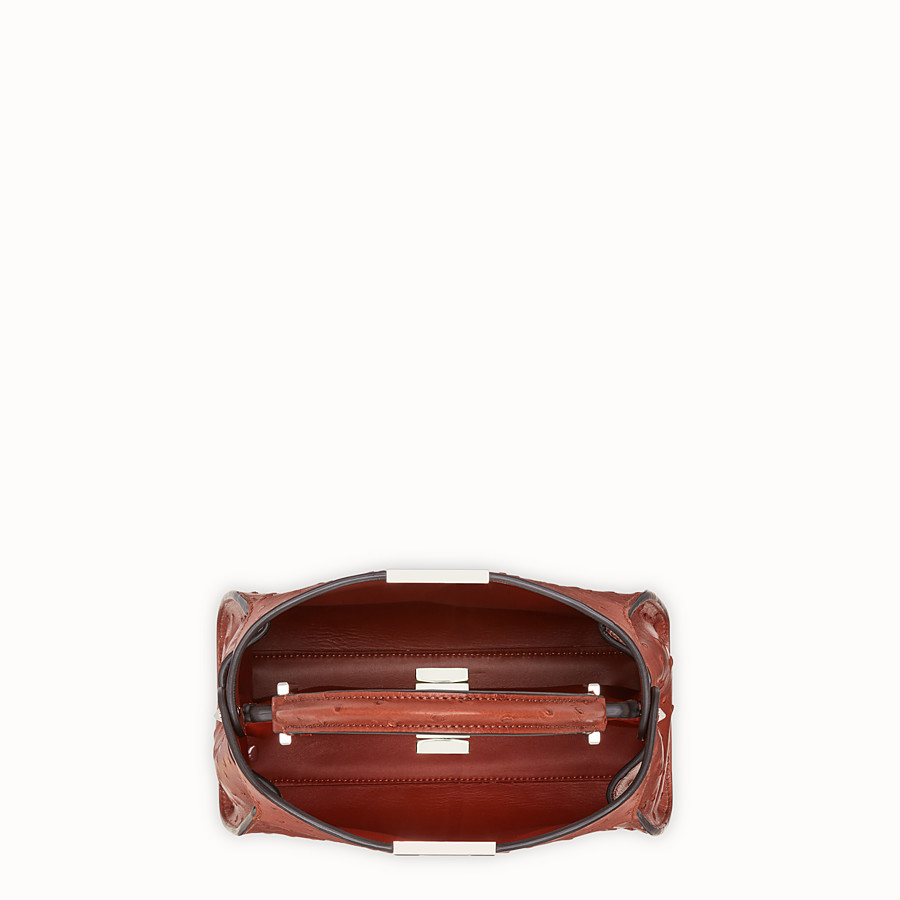 FENDI PEEKABOO ICONIC ESSENTIALLY - Red ostrich bag - view 4 detail