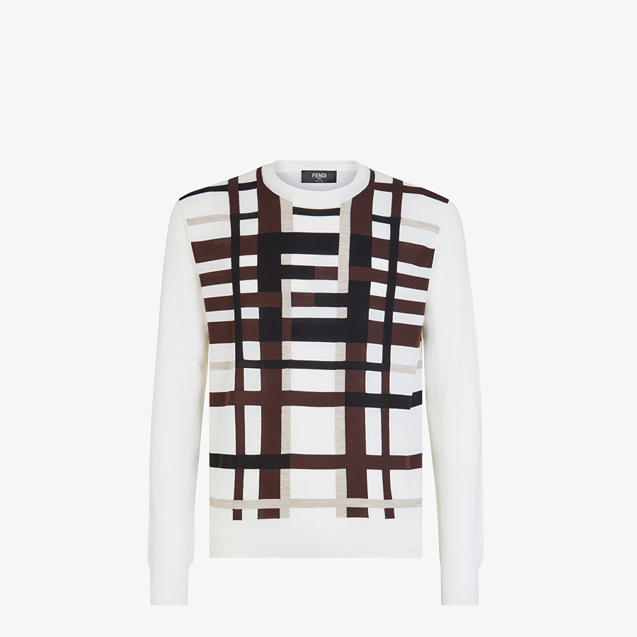 FENDI SWEATER - White wool sweater - view 1 detail