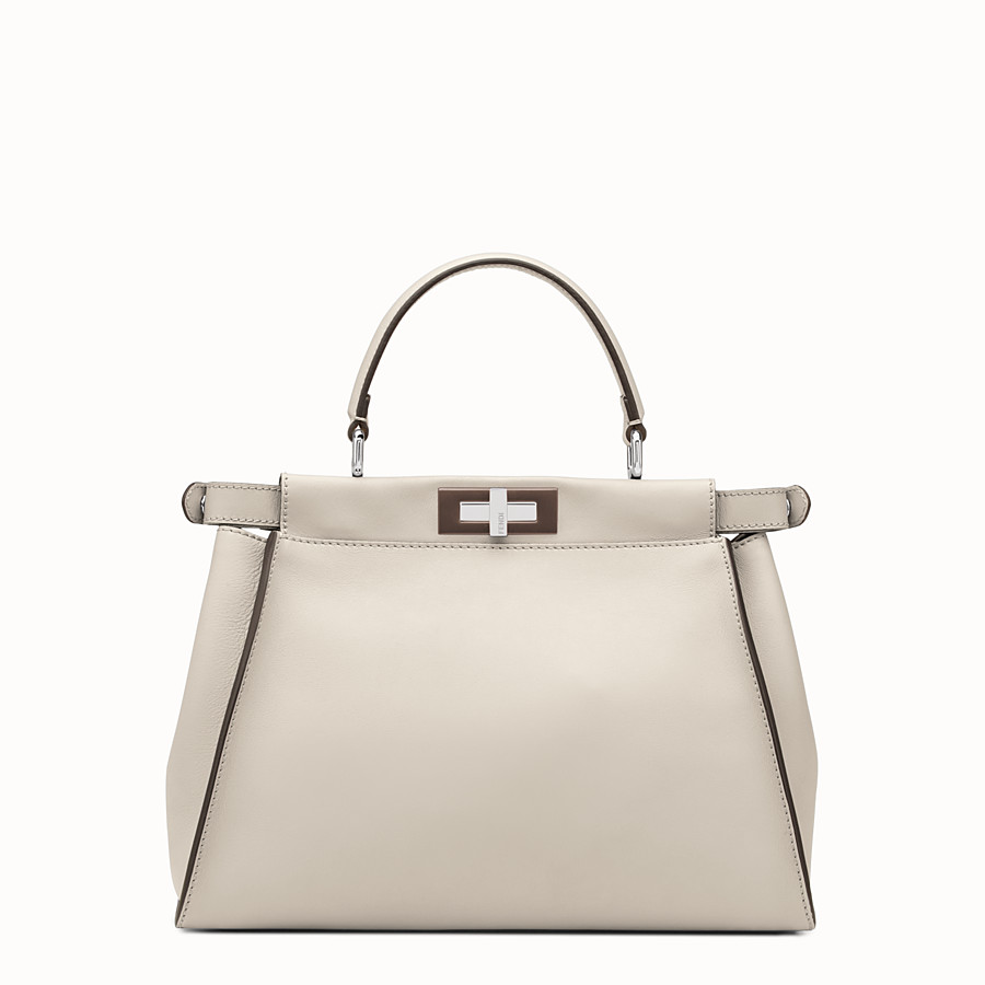FENDI PEEKABOO REGULAR - Powder-grey leather handbag - view 3 detail