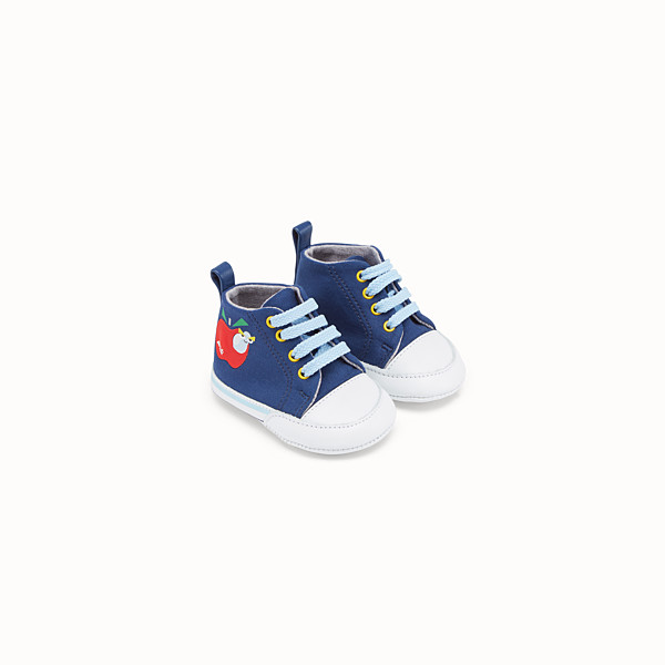 FENDI APPLE SNEAKER - Sneaker in jersey blu - vista 1 thumbnail piccola