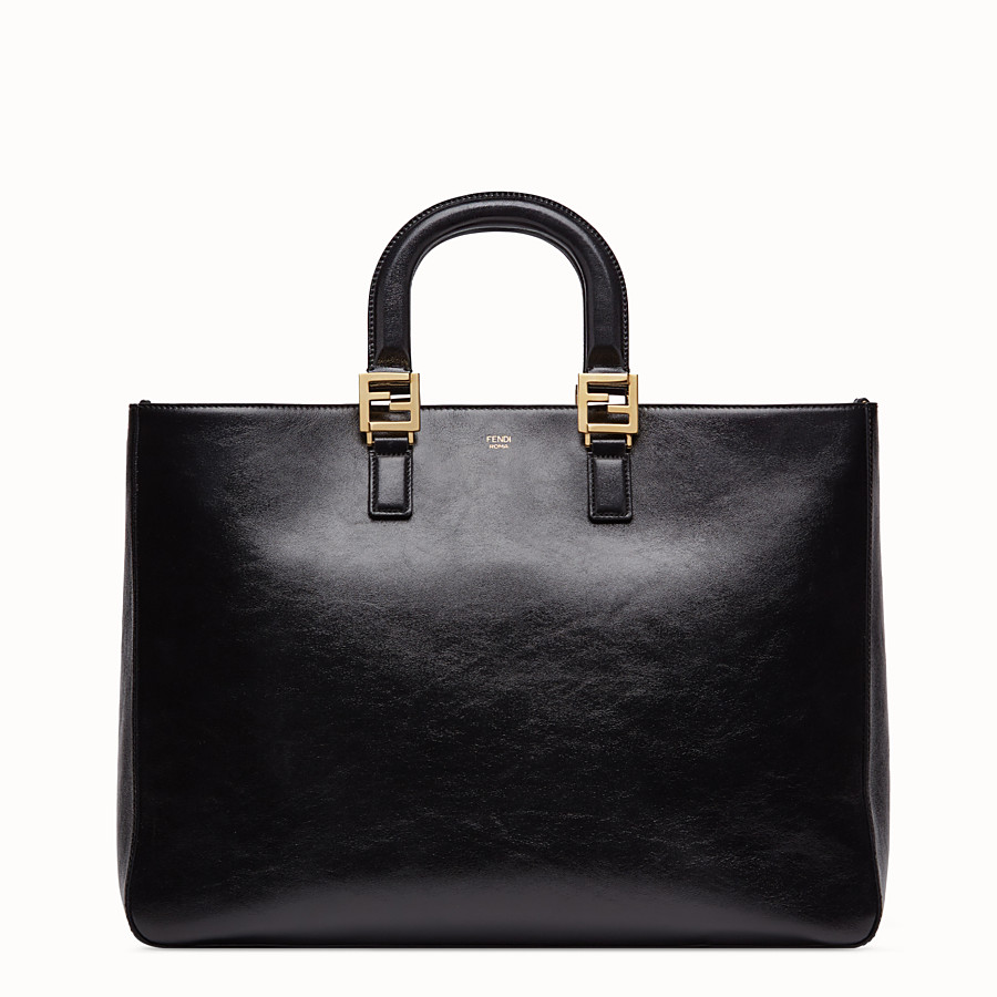 FENDI FF TOTE LARGE - Black leather bag - view 1 detail
