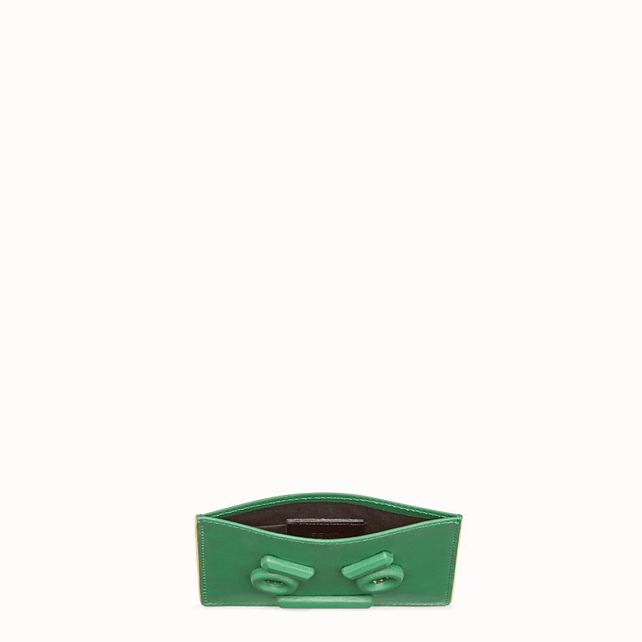 FENDI CARD HOLDER - Three-slot card holder in green leather - view 3 detail