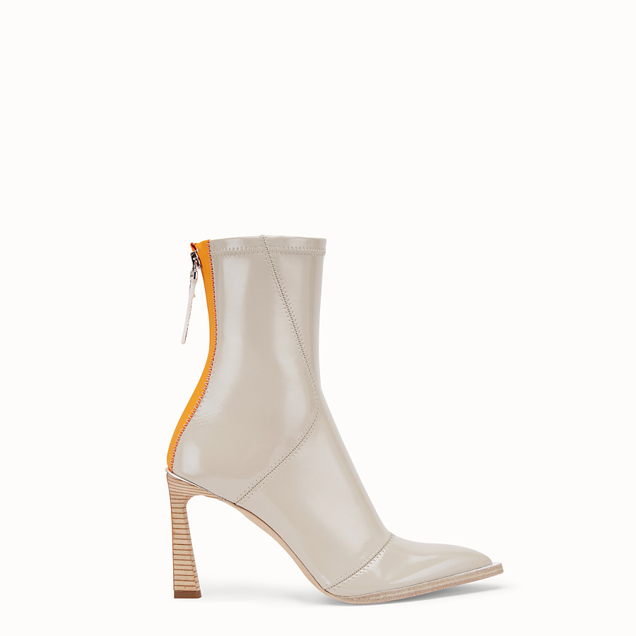 FENDI BOOTS - Glossy gray neoprene ankle boots - view 1 detail