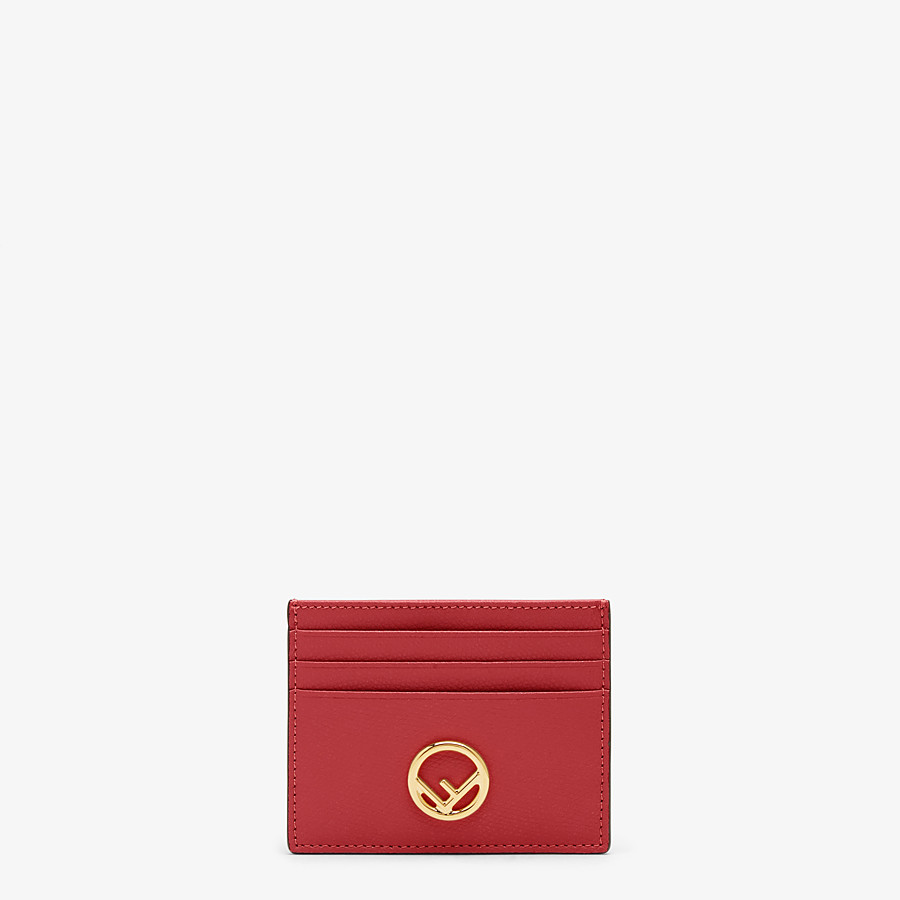 FENDI CARD HOLDER - Red leather flat card holder - view 1 detail