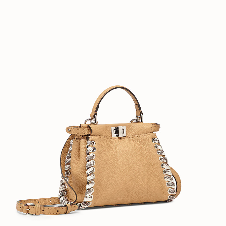 FENDI PEEKABOO MINI - Brown leather bag with exotic details - view 2 detail