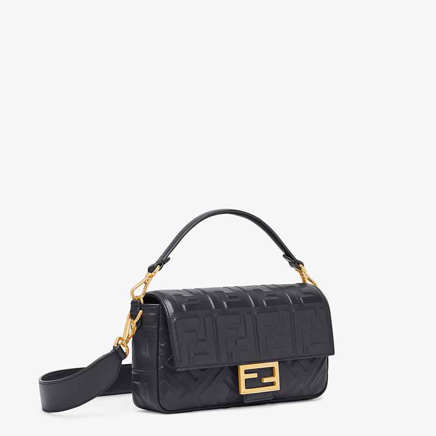 FENDI BAGUETTE - Black leather bag - view 3 detail