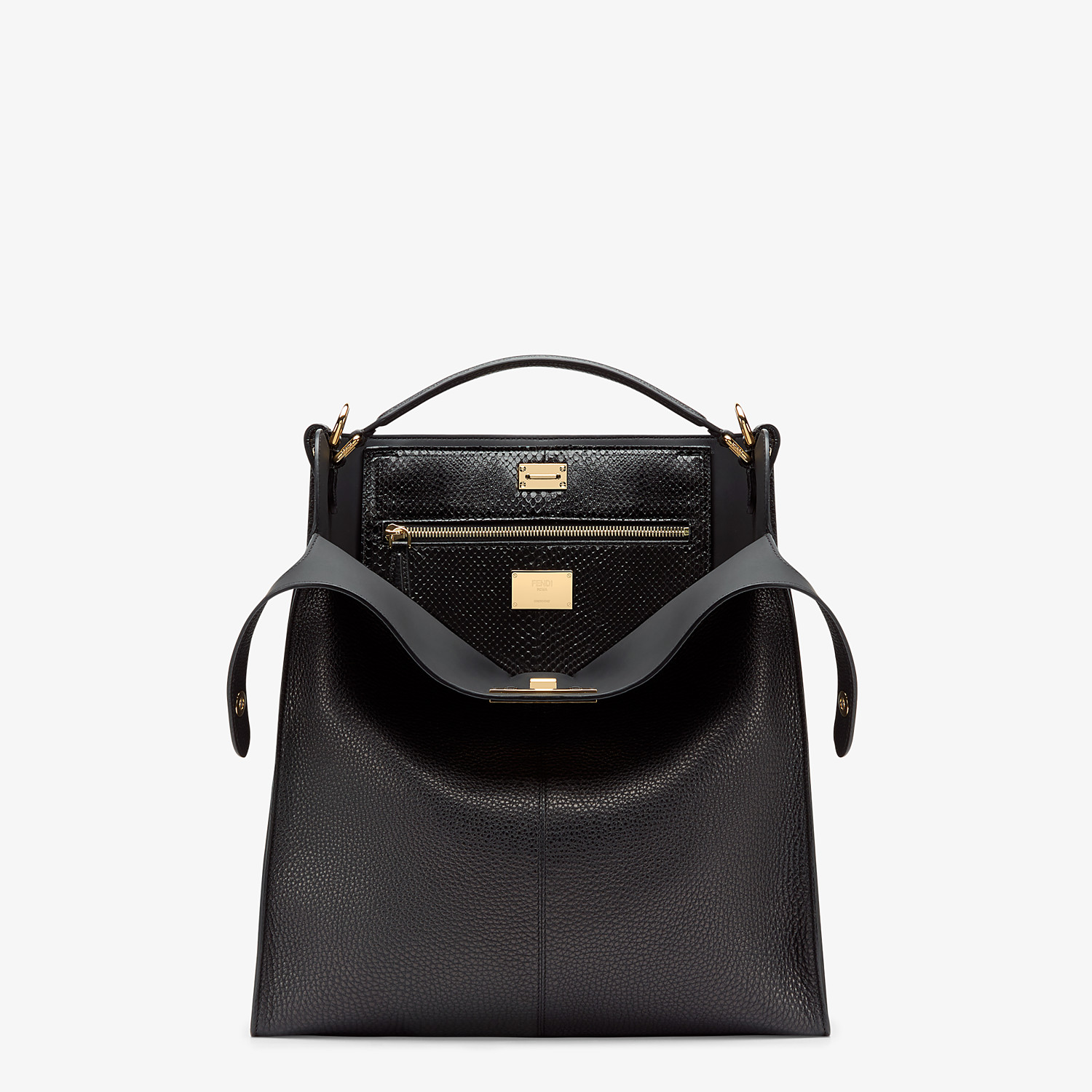 FENDI PEEKABOO X-LITE FIT - Black Romano leather bag - view 1 detail