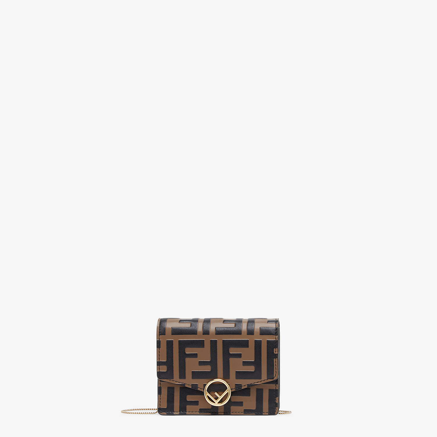 FENDI WALLET ON CHAIN - Brown leather mini-bag - view 1 detail