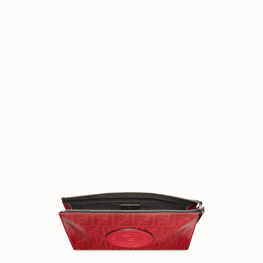 FENDI CLUTCH - Red fabric pochette - view 4 detail