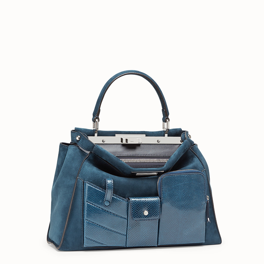 FENDI PEEKABOO ICONIC MEDIUM - blue suede bag with exotic details - view 3 detail