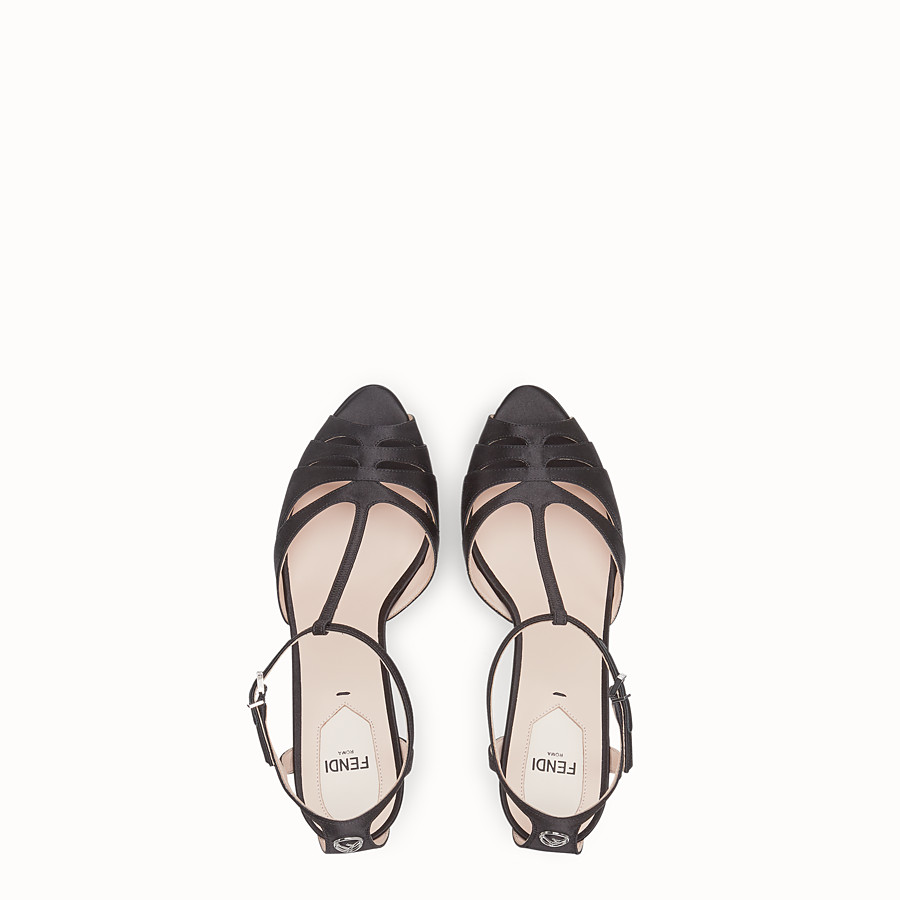 FENDI SANDALS - Black satin high sandals - view 4 detail