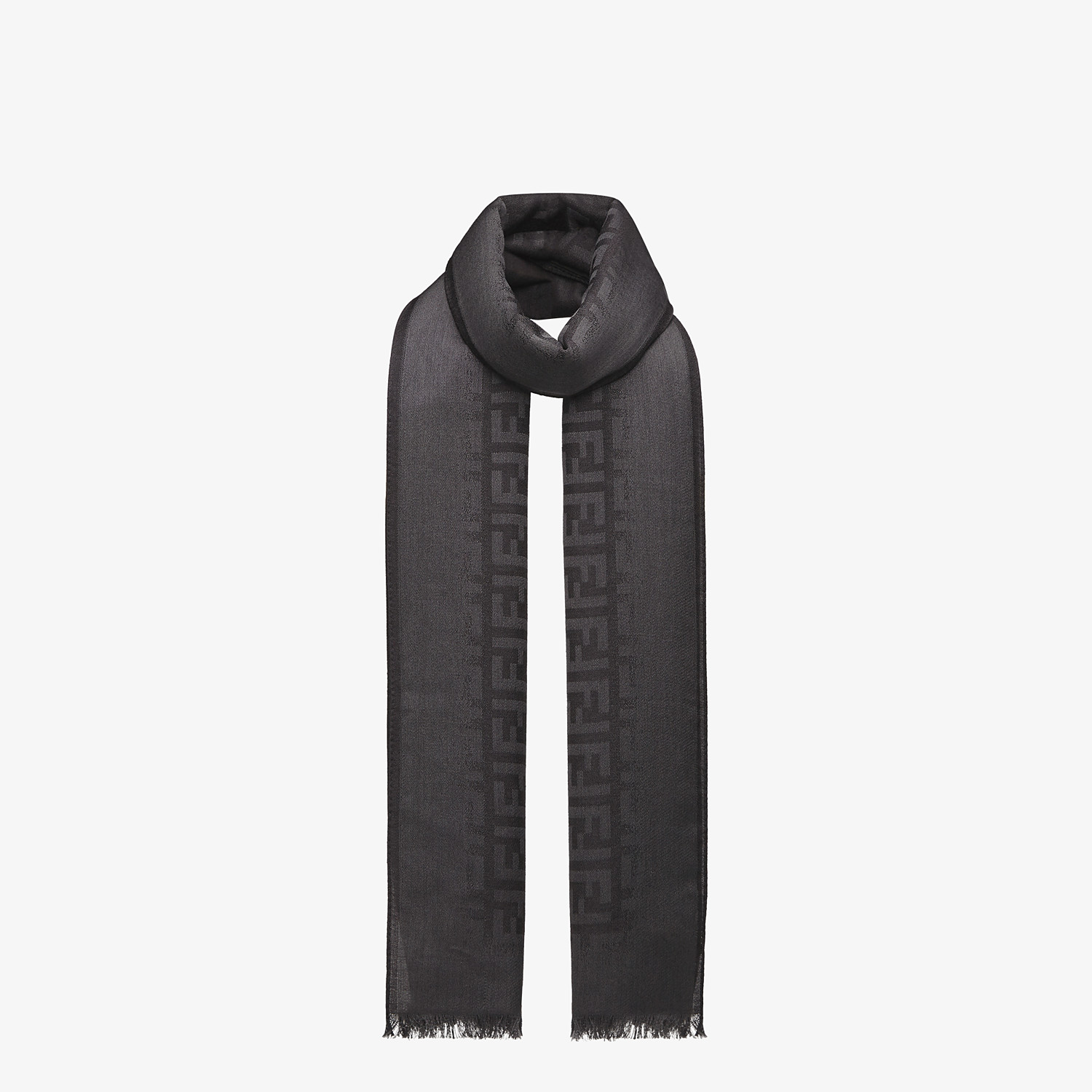 FENDI STOLE - Black wool and silk stole - view 2 detail