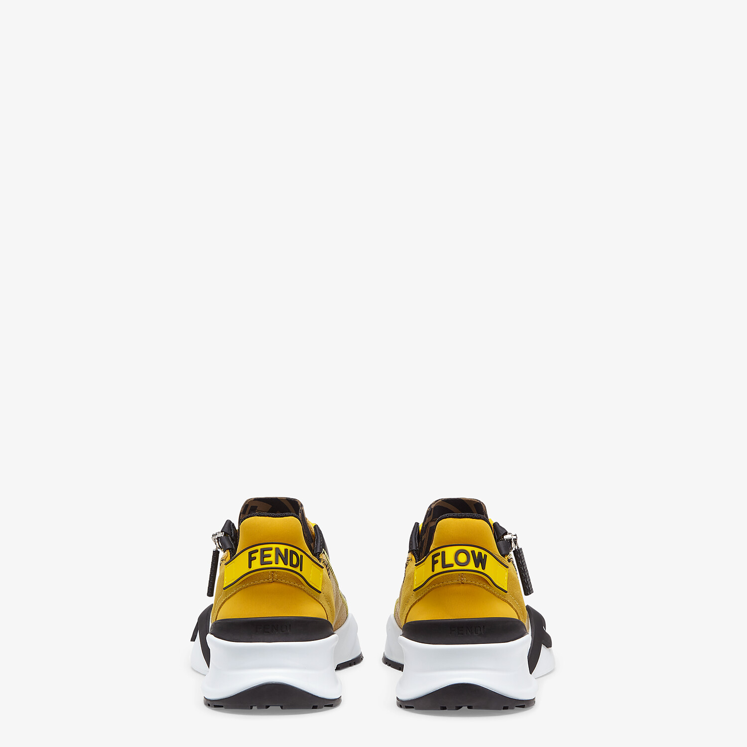 FENDI FENDI FLOW - Low-tops in yellow nylon and suede - view 3 detail