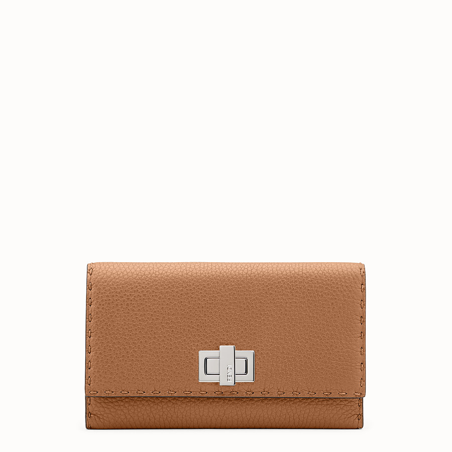 FENDI WALLET - Selleria in toffee Roman leather - view 1 detail