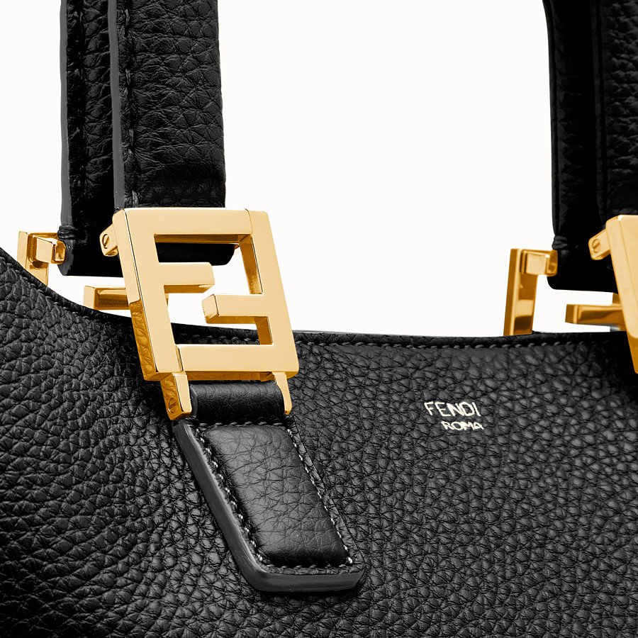 FENDI FF TOTE MEDIUM - Black leather bag - view 5 detail